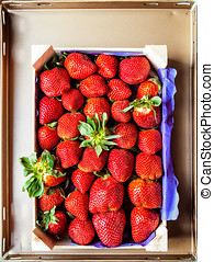 木制, 新鮮, 草莓, 箱子