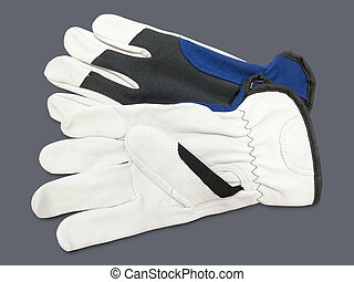 New work gloves - Pair of new work gloves isolated on a gray...