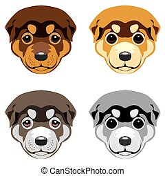 Puppy muzzle - Puppy muzzle Set of vector illustrations