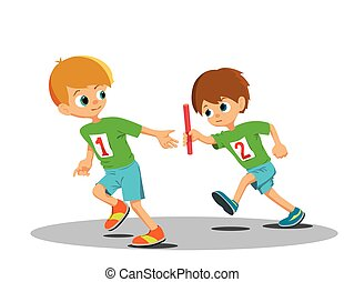 Two boys involved in the relay Vector Illustration