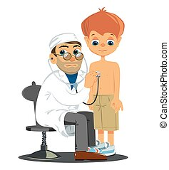 PrintBoy at the doctor - Boy at the doctor. Vector...