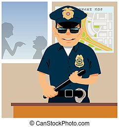 Patrolman in the police station. Vector illustration