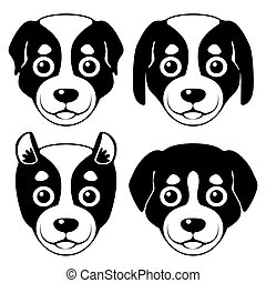 Puppy muzzle - Puppy' muzzle. Set of vector illustrations