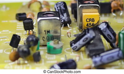 Circuit Boards with Electronic Components - Close-up of...