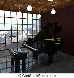 Black piano in front of a window