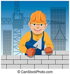 Bricklayer on a building site. Vector illustration