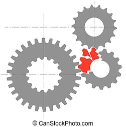 Stylized image of broken mechanism - Stylized image of a...