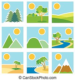 Stylized images of landscapes Vector illustration