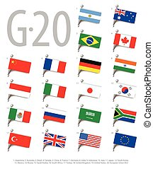 Set of flags of the countries - members of The Group of...
