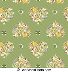 Pattern with Floral Hearts on a Green Background