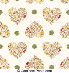 Pattern with Floral Hearts on a Sand Background