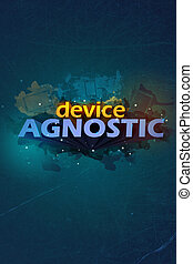 Device agnostic poster with 3d letters and splashes with the...
