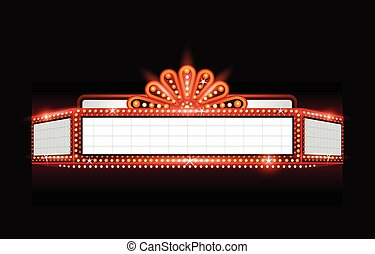Brightly vector theater glowing retro cinema neon sign -...
