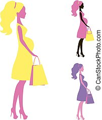 vector icon of Beautiful  pregnant women shopping belly lady silhouette, stylized symbol moms