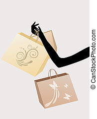 shopping girl - illustration of a female arm with shopping...
