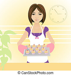 housewife - illustration of a young woman baking muffins