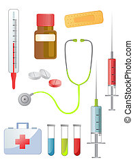 medical equipment - illustration of different medical...