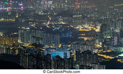 Fei ngo shan Kowloon Peak night timelapse Hong Kong...