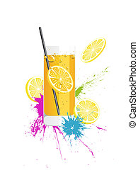 fresh drink - illustration of a longdrink glas with lemons