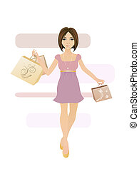 shopping girl - illustration of a young woman with shopping...