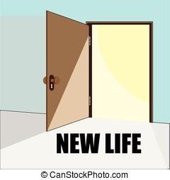 Opened door. Concept illustration