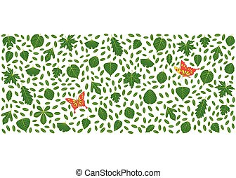 Spring background made of different tree leaves and...