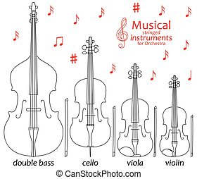 Set of line icons. Musical stringed
