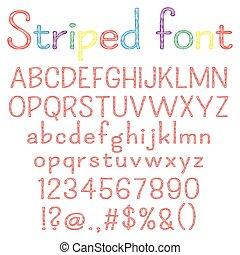 Spriped font. Alphabet, numbers, punctuation marks. One...