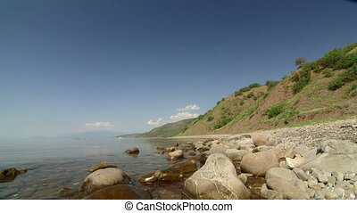 Wild stone beach on the southern coast of Crimea, Black Sea