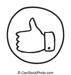 Doodle Thumbs Up icon. Infographic symbol in a circle. Line...