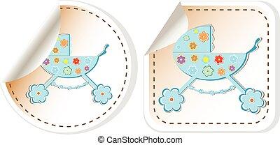 Baby carriage icon - baby boy perambulator vector...