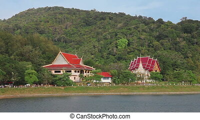Landscape of Phuket - Buddhist temple in Phuket, close to...