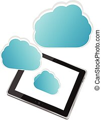 Tablet PC with cloud of application icons isolated on white background vector illustration
