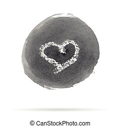 Vector Ink Stain with the Symbol of Heart