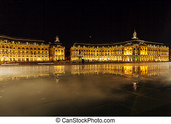 Place de la Bourse at Night, Bordeaux - Place de la Bourse...