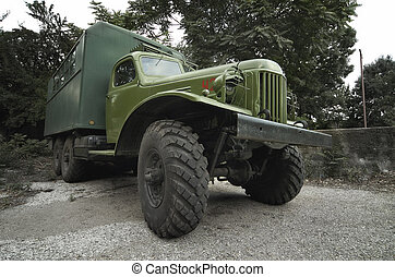 front view from an old military truck - front view from an...