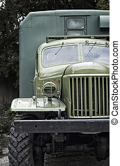 old military truck - front view from an old green military...
