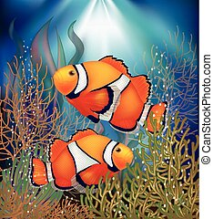 Underwater wallpaper with clownfish, vector illustration
