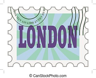vector, post stamp of London