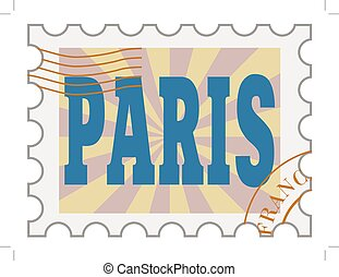 vector, post stamp of Paris