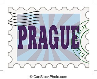 vector, post stamp of Prague