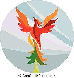 Phoenix Rising Burning Tree Circle Retro