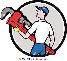 Plumber Carry Monkey Wrench Walking Circle Cartoon -...