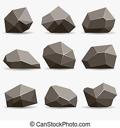 Rock stone set Stones and rocks in isometric 3d flat style...
