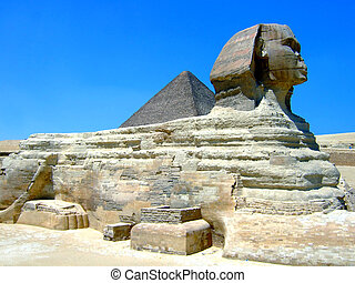 Egyptian statue - An Egyptian statue with a blue sky