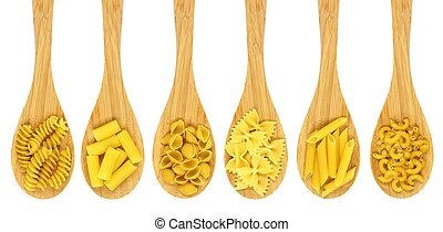 Wooden cooking spoons filled with various types dry pasta isolated on a white background