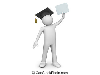 Graduating student senior with diploma - 3d characters...