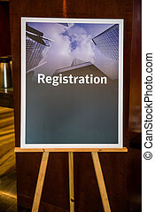 Registration sign board - Big registration sign board on...