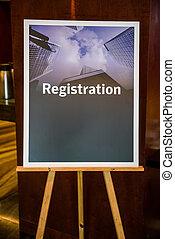 Registration sign board - Big registration sign board on...