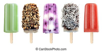 Isolated popsicles - Variety of unique popsicle desserts...